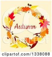 Clipart Of A Colorful Autumn Leaf Wreath With Text 6 Royalty Free Vector Illustration