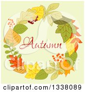 Clipart Of A Colorful Autumn Leaf Wreath With Text 4 Royalty Free Vector Illustration