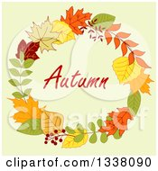 Clipart Of A Colorful Autumn Leaf Wreath With Text 3 Royalty Free Vector Illustration