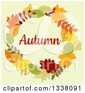 Clipart Of A Colorful Autumn Leaf Wreath With Text 5 Royalty Free Vector Illustration