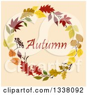 Clipart Of A Colorful Autumn Leaf Wreath With Text 2 Royalty Free Vector Illustration