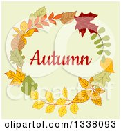 Clipart Of A Colorful Autumn Leaf Wreath With Text 8 Royalty Free Vector Illustration
