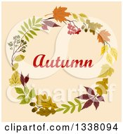 Clipart Of A Colorful Autumn Leaf Wreath With Text 7 Royalty Free Vector Illustration
