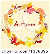 Clipart Of A Colorful Autumn Leaf Wreath With Text Royalty Free Vector Illustration