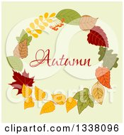 Clipart Of A Colorful Autumn Leaf Wreath With Text 9 Royalty Free Vector Illustration