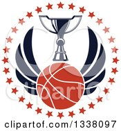 Clipart Of A Winged Basketball And Trophy Cup In A Circle Of Stars Royalty Free Vector Illustration