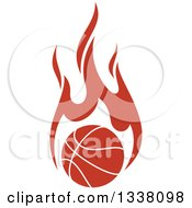 Clipart Of A Flaming Orange Basketball Royalty Free Vector Illustration