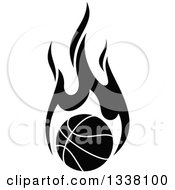 Clipart Of A Flaming Black And White Basketball Royalty Free Vector Illustration