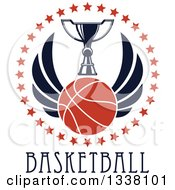 Clipart Of A Winged Basketball And Trophy Cup In A Circle Of Stars Over Text Royalty Free Vector Illustration