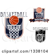Basketball Shield And Hoop Designs With Text