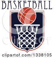 Basketball Over A Hoop And Shield With Text