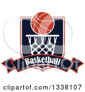 Basketball Over A Hoop Shield And Text Banner