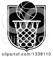 Black And White Basketball Over A Hoop And Shield