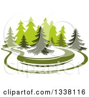 Clipart Of A Park With Evergreen Trees Royalty Free Vector Illustration