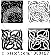 Black And White Celtic Knot Snakes