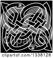 Clipart Of White Outlined Celtic Knot Snakes On Black Royalty Free Vector Illustration