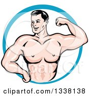 Clipart Of A Cartoon Strong White Male Bodybuilder Flexing His Muscles In A Blue Circle 2 Royalty Free Vector Illustration