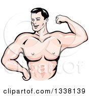Clipart Of A Cartoon Strong White Male Bodybuilder Flexing His Muscles 2 Royalty Free Vector Illustration