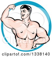 Clipart Of A Cartoon Strong White Male Bodybuilder Flexing His Muscles In A Blue Circle 3 Royalty Free Vector Illustration