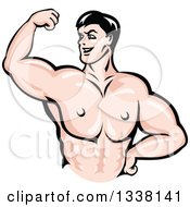 Clipart Of A Cartoon Strong White Male Bodybuilder Flexing His Muscles 3 Royalty Free Vector Illustration