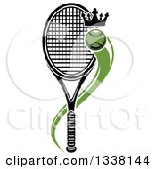 Clipart Of A Flying Crowned Tennis Ball And Racket Royalty Free Vector Illustration