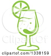 Clipart Of A Green Cocktail Beverage With A Lime Slice Royalty Free Vector Illustration by Vector Tradition SM