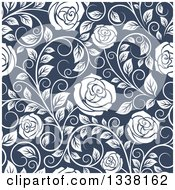 Clipart Of A Seamless Pattern Of White Roses On Blue 3 Royalty Free Vector Illustration