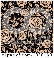 Clipart Of A Seamless Pattern Of Tan Roses On Black 4 Royalty Free Vector Illustration
