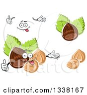 Clipart Of A Cartoon Face Hands And Hazelnuts Royalty Free Vector Illustration by Vector Tradition SM