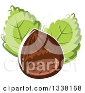 Clipart Of A Cartoon Hazelnut And Leaves Royalty Free Vector Illustration