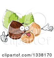 Clipart Of A Cartoon Hazelnut Character Presenting And Giving A Thumb Up Royalty Free Vector Illustration by Vector Tradition SM