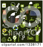 Flat Design Green Energy And Ecology Icons