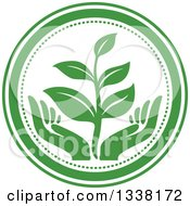 Clipart Of A Seedling Plant Over Green Hands In A Circle 2 Royalty Free Vector Illustration