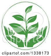 Clipart Of A Seedling Plant Over Green Hands In A Circle Royalty Free Vector Illustration