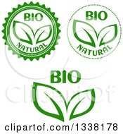 Clipart Of Green Leaf And Bio Labels Royalty Free Vector Illustration