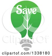 Clipart Of A Green Leaf Light Bulb With Save Text Royalty Free Vector Illustration