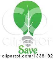 Clipart Of A Green Leaf Light Bulb With Save Text 2 Royalty Free Vector Illustration