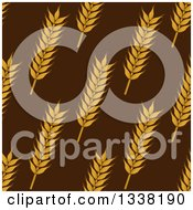 Clipart Of A Seamless Background Patterns Of Gold Wheat On Brown 4 Royalty Free Vector Illustration