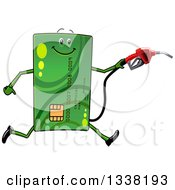 Clipart Of A Cartoon Green Credit Card Character Running With A Gas Nozzle Royalty Free Vector Illustration by Vector Tradition SM