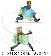 Clipart Of White Male Hacker Identity Thieves Carrying Credit Cards And Cash Royalty Free Vector Illustration