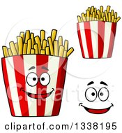 Clipart Of A Cartoon Face And Striped Containers Of French Fries Royalty Free Vector Illustration by Vector Tradition SM