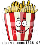 Clipart Of A Cartoon Striped Container Of French Fries Character Royalty Free Vector Illustration by Vector Tradition SM