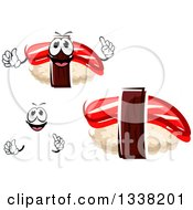 Clipart Of A Cartoon Face Hands And Nigiri Maguro Sushi Royalty Free Vector Illustration