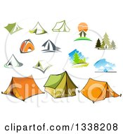 Clipart Of Camping Scenes And Tents Royalty Free Vector Illustration