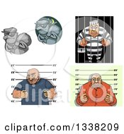 Poster, Art Print Of Cartoon Robbers Mugsots And Prisoners