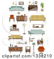 Clipart Of Retro Household Furniture 6 Royalty Free Vector Illustration