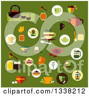 Clipart Of Flat Tea Designs On Green Royalty Free Vector Illustration