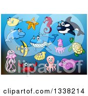 Clipart Of Cartoon Fish And Sea Creatures Over Blue Royalty Free Vector Illustration by Vector Tradition SM