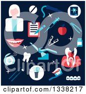 Clipart Of A Flat Design Female Dentist And Equipment On Navy Blue Royalty Free Vector Illustration