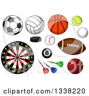 Clipart Of Cartoon Sports Balls Darts And A Dartboard Royalty Free Vector Illustration